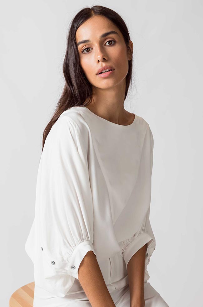 Blouse blanche grandes manches ecovero