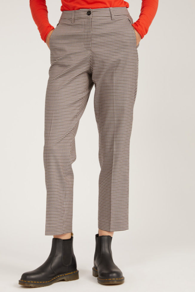 Coco Friendly pantalon microcheck tencel