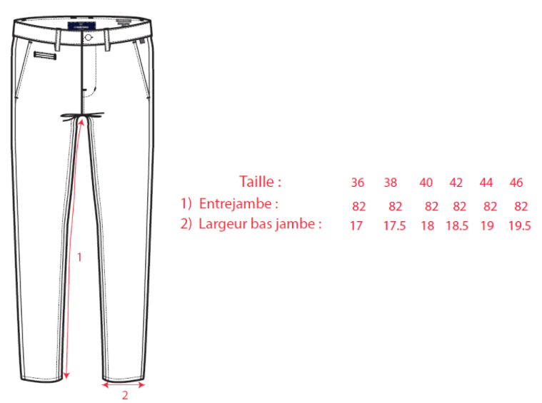 guide taille chino droit